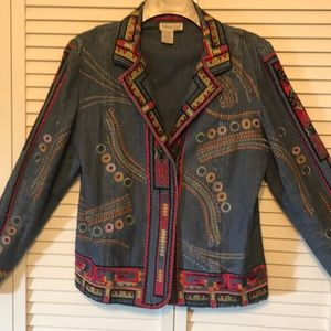 Coldwater Creek Embroidery Jean Jacket
